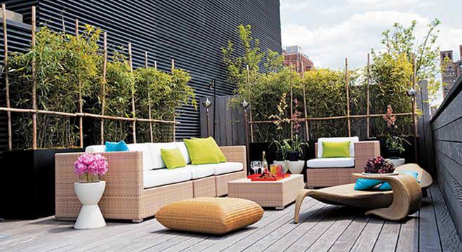 Terraza decorada al estilo zen