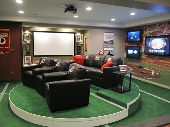 Decoración para el cuarto de TV de un futbolero